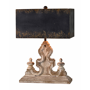 Keaton Weathered Driftwood and Antique Black Table Lamp