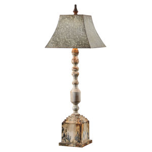 Dinah Galvanized and Antique White One-Light 38-Inch Buffet Lamp