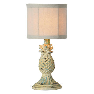 Ripley Distressed White and Blue One-Light 14-Inch Table Lamp