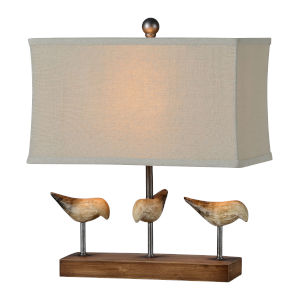 Snipes Wood and Worn Cream One-Light 18-Inch Table Lamp