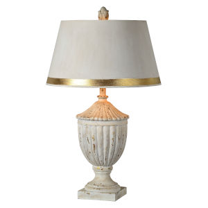 Samantha Distressed Cottage White One-Light 30-Inch Table Lamp