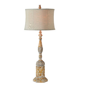 Edward Natural Oak, Washed Gray and White One-Light 40-Inch Table Lamp