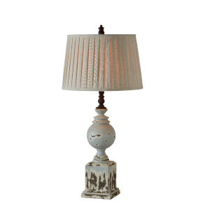Bree Distressed Blue, Cream and Brown  One-Light 35-Inch Table Lamp