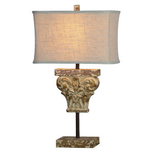Eileen Worn Wood, Distressed Cream and Gold  One-Light 28-Inch Table Lamp