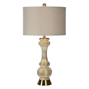 Patterson Antique Blue and Cream One-Light 33-Inch Table Lamp