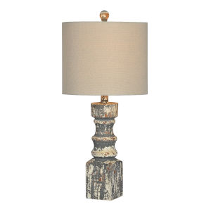 Hank Distressed Gray One-Light 25-Inch Table Lamp, Set of Two