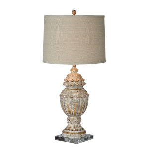 Macon Gray and Cream Distressed One-Light 33-Inch Table Lamp