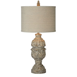 Frankie Distressed Wood One-Light 34-Inch Table Lamp