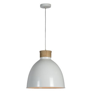 Boone Natural Wood and White One-Light Pendant