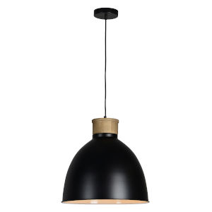 Buford Natural Wood and Black One-Light Pendant