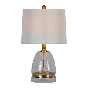 Ozzy Antique Brass with Hammered Glass One-Light Table Lamp