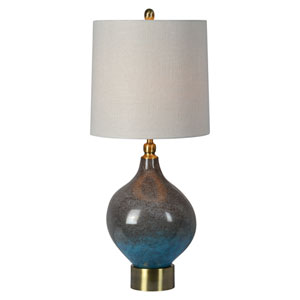 Gemma Grey Blue Ombre with Antique Brass One-Light Table Lamp
