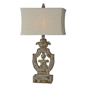 Isabella Distressed Walnut and Cream One-Light 31-Inch Table Lamp