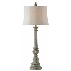 Cora Distressed Pale Blue One-Light 41-Inch Buffet Lamp