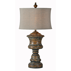 Hannah Medium Brown With Gray Distressed Table Lamp