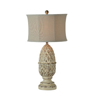 Veronica Distressed White One-Light 34-Inch Table Lamp