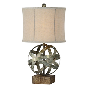 Baldwyn Galvanized and Driftwood Table Lamp