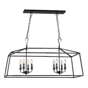 Antique Black 42-Inch Eight-Light Chandelier