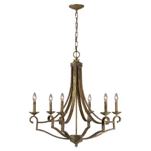 Old Gold 29-Inch Six-Light Chandelier