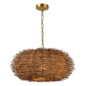 Natural Wicker and Gold 23-Inch One-Light Chandelier