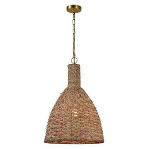 Natural Wicker and Gold 18-Inch One-Light Pendant