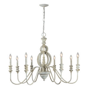 Weathered Blue 39-Inch Eight-Light Chandelier
