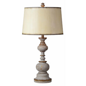 Nancy Distressed Gray and Wood One-Light 31-Inch Table Lamp