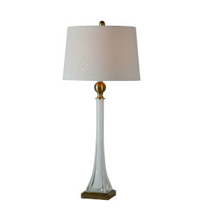 Jaqueline Milky White and Antique Brass One-Light 34-Inch Table Lamp