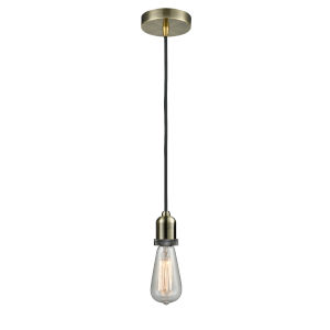 Whitney Antique Brass Two-Inch One-Light Mini Pendant with Black Cord