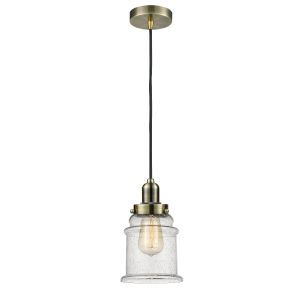 Whitney Antique Brass Eight-Inch One-Light Mini Pendant with Black Cord