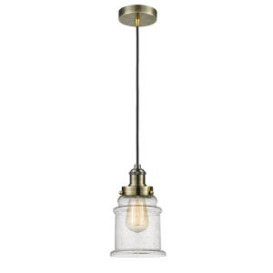Edison Antique Brass Eight-Inch One-Light Mini Pendant with Black Cord