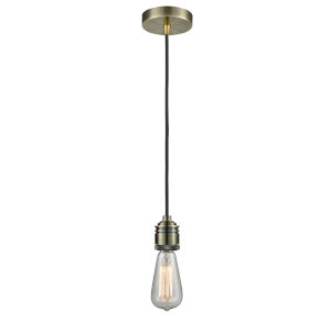 Winchester Antique Brass Two-Inch One-Light Mini Pendant with Black Cord