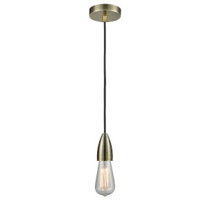 Fairchild Antique Brass One-Light Mini Pendant with Black Cord