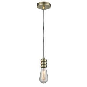 Gatsby Antique Brass One-Light Mini Pendant with Black Cord