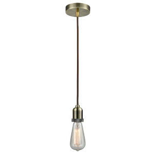 Whitney Antique Brass Two-Inch One-Light Mini Pendant with Brown Cord