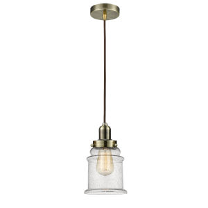Whitney Antique Brass Eight-Inch One-Light Mini Pendant with Brown Cord