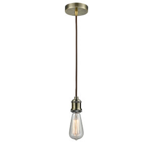 Edison Antique Brass Two-Inch One-Light Mini Pendant with Brown Cord