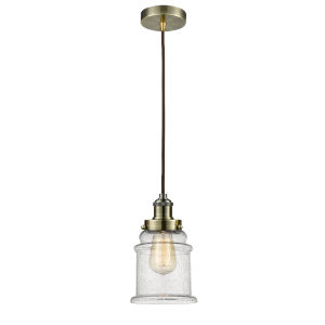Edison Antique Brass Eight-Inch One-Light Mini Pendant with Brown Cord