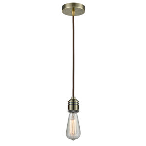 Winchester Antique Brass Two-Inch One-Light Mini Pendant with Brown Cord