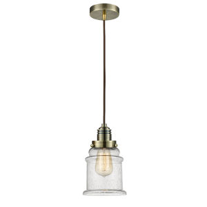 Winchester Antique Brass Eight-Inch One-Light Mini Pendant with Brown Cord