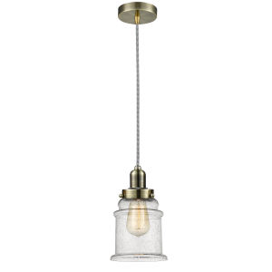 Whitney Antique Brass Eight-Inch One-Light Mini Pendant with Zebra Cord