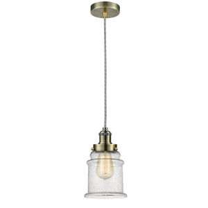 Edison Antique Brass Eight-Inch One-Light Mini Pendant with Zebra Cord