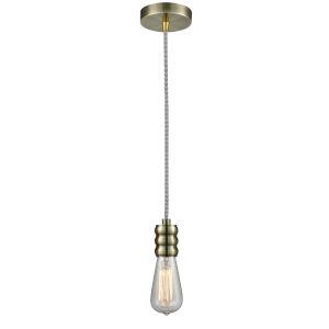 Gatsby Antique Brass One-Light Mini Pendant with Zebra Cord