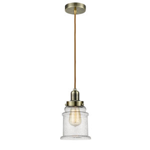 Whitney Antique Brass Eight-Inch One-Light Mini Pendant with Copper Cord