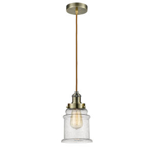 Edison Antique Brass Eight-Inch One-Light Mini Pendant with Copper Cord