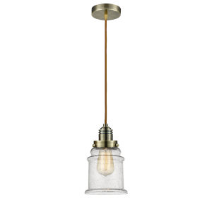 Winchester Antique Brass Eight-Inch One-Light Mini Pendant with Copper Cord