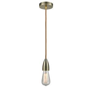 Fairchild Antique Brass One-Light Mini Pendant with Copper Cord
