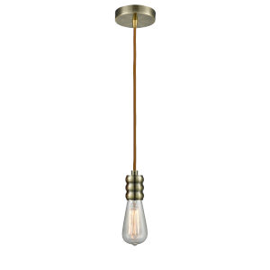Gatsby Antique Brass One-Light Mini Pendant with Copper Cord