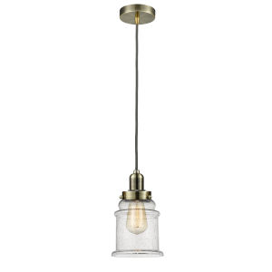 Whitney Antique Brass Eight-Inch One-Light Mini Pendant with Gray Cord