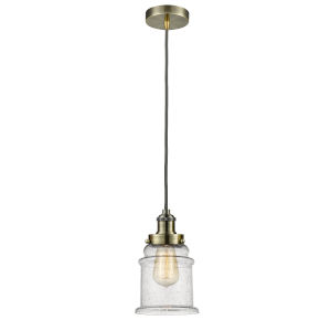 Edison Antique Brass Eight-Inch One-Light Mini Pendant with Gray Cord